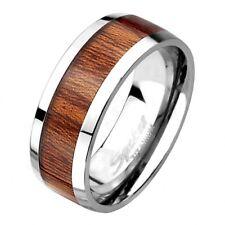 Titan Schmuck Damen & Herren Ring Poliert mit Natur Holz Inlay Design
