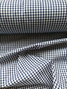 """ROYAL BLUE, GINGHAM CHECK 1/8"""" cotton mix fabric sold/PER METRE/"""