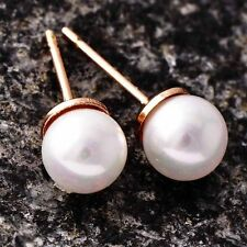 Fashion Jewelry Rose Gold Filled Womens/Girls 5mm White Pearl Stud Earrings