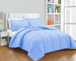 Glorious Down Alternative Comforter 100/200/300 GSM Sky Blue Solid Full XL Size
