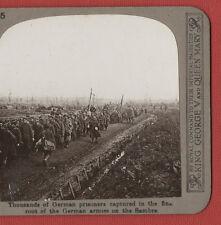 GERMAN PRISONERS CAPTURED ,SAMBRE -  WW1.ORIGINAL  VINTAGE STEREOVIEW