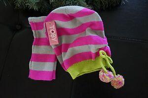 Hat Winter Toby NYC Girls 7-14 Set PINK & Gray STRIPE w/Pom Poms & Wrist Mittens
