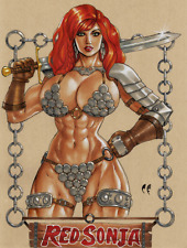 RED SONJA Original Art Sexy - She-Devil with a Sword - 9 X 12 by Chris Foulkes