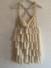 CREAM RACER BACK DRESS SEQUIN STRAPPY 8 LIPSY PARTY GLAM PRETTY SUMMER POSH CUTE