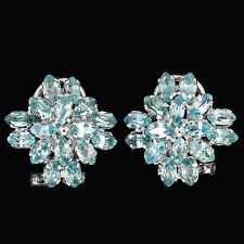 Sterling Silver 925 Genuine Natural Seafoam Blue Zircon Cluster Earrings