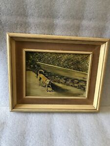 Vintage Antique Oil painting by H.J Thomas 1974 -  A dog in a Garden - Free P&P