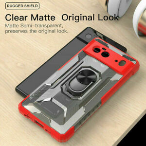 For Google Pixel 6 / 6 Pro Shockproof Rugged Ring Stand Clear Back Case Cover