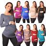 Basic Maternity Long Sleeve Stretchy Top Blouse Size 8 10 12 14 16 18 8041