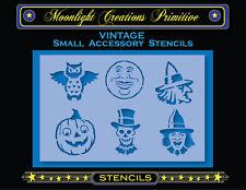 Halloween Stencil~Vintage~HALLOWEEN ACCESSORY SET 1100-Witch Moon Owl Skeleton