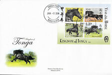 Tonga 2014 FDC Year of Horse 4v M/S Cover Chinese Lunar New Year Zodiac