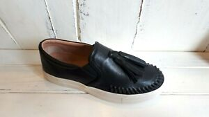 Eos Odes Black Leather Slip On Platforms BRAND NEW