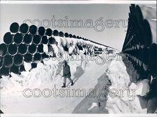1974 Person Walks Between Miles of Pipes & Snow Alaska Pipeline Press Photo