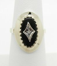 Antique 14K Yellow Gold Black Onyx Diamond Ring~4.5 Grams~Size 6 1/4~Beautiful!