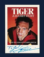 Tiger Williams signed Vancouver Canucks book promo hockey postcard