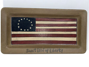 """Hearthside Collection Donna White Tray Sweet Land of Liberty Flag 13"""" x 7"""""""