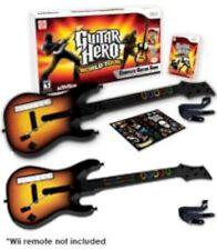 Nintendo Wii/Wii-U Guitar Hero 2 x WORLD TOUR GUITARS kit + video game disc set