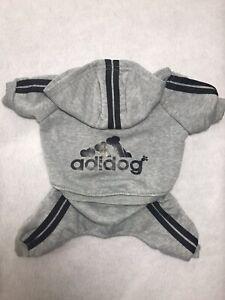 Adidog Dog Hoodie Medium Grey Sweatsuit Sporty Coat