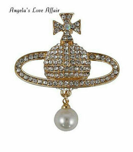 GORGEOUS GOLD CRYSTAL FAUX PEARL ORB PLANET SATURN CROSS BROOCH PIN CHRISTMAS