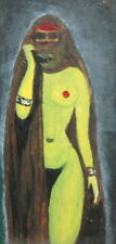 Expressionist oil painting islamic nude woman portrait
