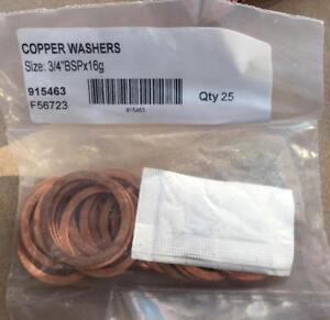 """25 x 1"""" BSP X 16g COPPER WASHERS. Brand new & sealed."""