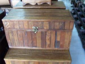 HEAVY HAND CARVED PLAIN WOODEN TEAK BOX TRASURE CHEST  BRAND  NEW