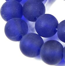 25 Frosted Sea Glass Round Beads Matte - Cobalt Blue 8mm