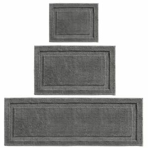 mDesign Microfiber Polyester Bathroom Spa Mat Rugs/Runner, Set of 3 - Dark Gray