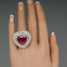 Big Beautiful Heart 15.33 Carat Tourmaline Surrounded With Three CZ Halos Ring
