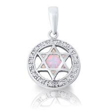 Blanco Ópalo Estrella de David Diamante Sintético Halo Collar Plata Ley Colgante