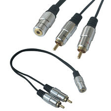 2 RCA Male Plug to Stereo Audio 3.5mm Female Jack Socket to Headphone Y Cable