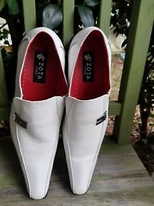 Zota Classic Mens White Leather Pointed Toe Slip On Dress Shoes Size 13 New