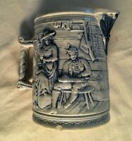 ANTIQUE WHITE`S OF UTICA BLUE AND GRAY STONEWARE PITCHER,