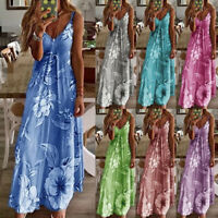 Womens Ladies Maxi Casual Floral CAMI Swing Sundress Fitted Long Slip Dresses UK
