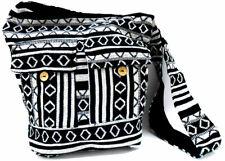 Black and White Handmade Crossbody hippie jhola Boho Women Large Shoulder Bag