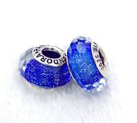 2 PANDORA Silver 925 Murano Charm Facet Blue Shimmering Beads #259MH