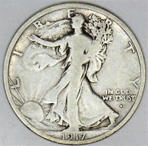 1917-S Obverse Walking Liberty Half Dollar; Nice Original F; Scarce!