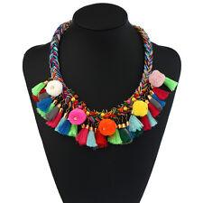 Trendy Pom Pom Multicolor Tassel Boho Statement Party Necklace  Women Jewelry