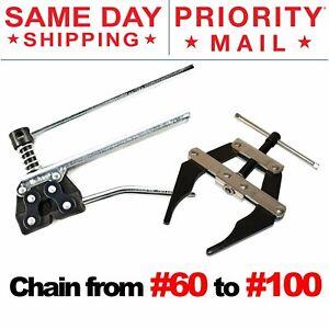 Roller Chain Tool Kit Breker Cutter + Puller Holder #60 - #100