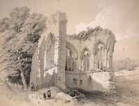 Original Lithograph Antique Print Of Eggleston (Egglestone) Abbey By Richardson