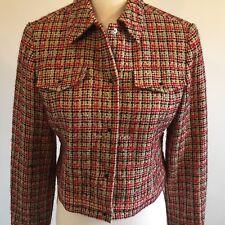 Nine West Small Jacket Red Tan Black Boucle Tweed Blazer Career Women's