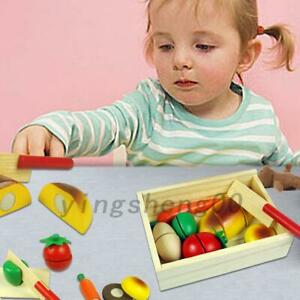 9Pcs Kids Wooden Play Toy Food Chopping Set Melissa +Doug Cutting Fruits Toy AU