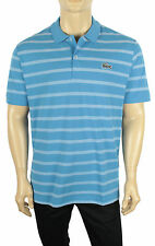 Mens Lacoste Caviar Croc Regular Fit Spa Blue Stripe Pique Polo Shirt 7 XXL