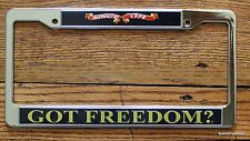 Got Freedom? License Tag Holder Frame Plate Military USA Proud Pride Support