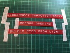 "Back To The Future Flux Capacitor Prop Rotex font 1/2"" Red Labels"