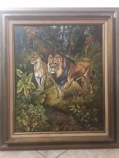 "Hazel Brooks 1987 Original Oil Painting Lion King Motive, 19"" x 23 1/2"" (Image)"