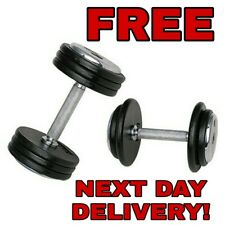 2 x 25KG Dumbbell Set Pair Cast Iron Weight Plates Barbell Set 50KG NEXT DAY UK