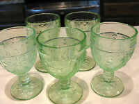 Indiana Glass Tiara Chantilly Green Sandwich 8 oz. Goblets Lot of (5) Very Nice