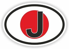 J JAPAN COUNTRY CODE OVAL WITH FLAG STICKER bumper decal car bike tablet