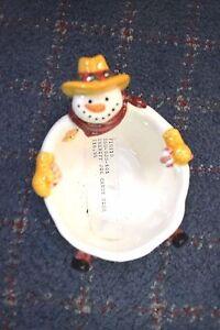 NEW FIGI Christmas Holiday Snowman SMALL Candy APPETIZER Dish SHERIFF JOE SNOW