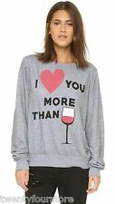 NWT $109 Wildfox Couture Baggy Beach Jumper Gray I Love You More Than Wine sz XS